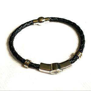 Grandson Bracelet Compass Diamond Braided Leather